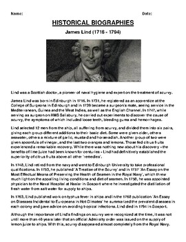 James Lind Biography Article and (3) Assignments