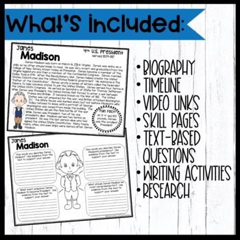 James Madison: Biography, Timeline, Graphic Organizers, Text-Based Questions