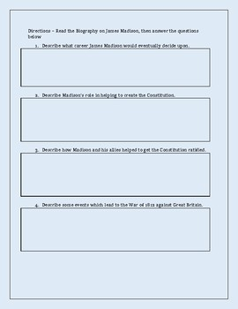 James Madison Biography with Comprehension Questions - Constitution Framer