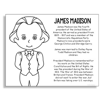President James Madison Coloring Page Craft or Poster with Mini Biography