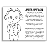 President James Madison Coloring Page Craft or Poster with