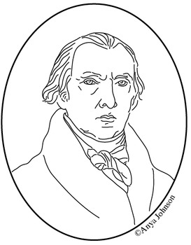 James Madison (4th President) Clip Art, Coloring Page or Mini Poster