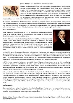 James Madison and Freedom of Information Day - Reading Comprehension Text