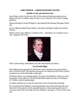 James Monroe - A Short Biography for Kids (with reading quiz)