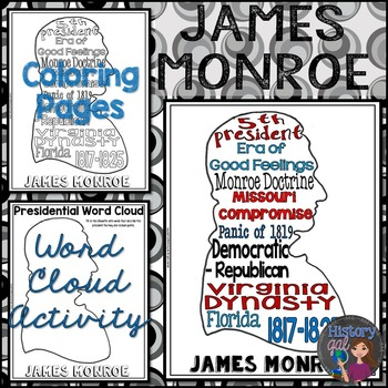 James Monroe Coloring Page and Word Cloud Activity