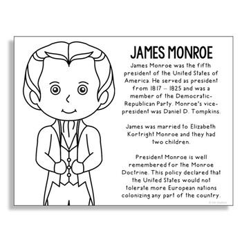 President James Monroe Coloring Page Craft or Poster with Mini Biography