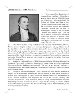 James Monroe: Common Core-Aligned Biography and Assessment
