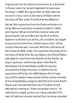 James Monroe Handout