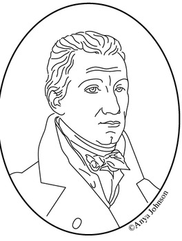 James Monroe (5th President) Clip Art, Coloring Page or Mini Poster