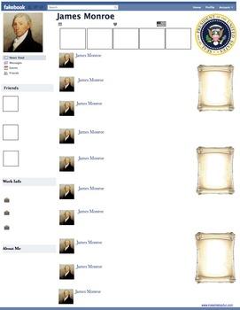 James Monroe Presidential Fakebook Template