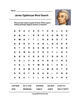 James Oglethorpe Word Search (Grades 4-5)
