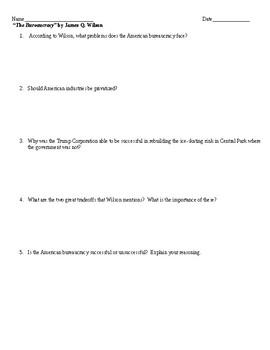 "James Q. Wilson's ""Bureaucracy"" - Worksheet Response Questions"