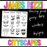 James Rizzi Cityscape Buildings Faces, Symbols, Doors and