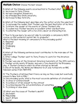 Author James Thurber Biography Reading Comprehension Worksheet