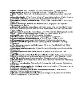 "James Thurber's ""The Catbird Seat"" Quiz (w/ Answer Key)"
