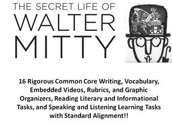 "James Thurber's ""The Secret Life of Walter Mitty"" –16 Rigorous Common Core Tasks"