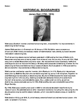 James Watt  Biography Article and (3) Assignments