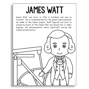 James Watt Biography Coloring Craft or Poster, STEM Technology History