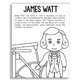 JAMES WATT Inventor Biography Coloring Craft or Poster, STEM Technology History