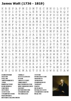 James Watt Word Search