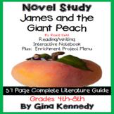 James and the Giant Peach Novel Study & Projects Menu; Plus Digital Option