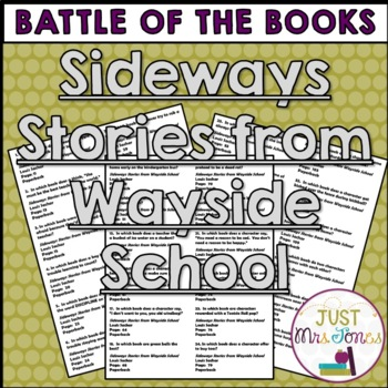 Sideways Stories from Wayside School Battle of the Books Trivia Questions