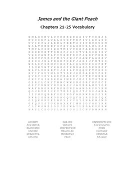 James and the Giant Peach Ch. 21-25 Vocabulary Word Search