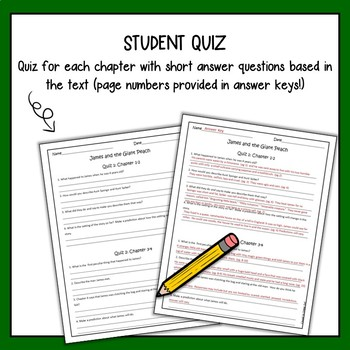 James and the Giant Peach Chapter Quizzes with Answer Key