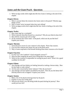 James and the Giant Peach - Close Reading Questions