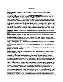 James and the Giant Peach - Complete Unit Plans - Common Core Standards