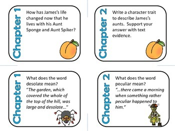 James and the Giant Peach Comprehension and Vocabulary Task Cards