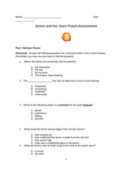 James and the Giant Peach Final Assessment