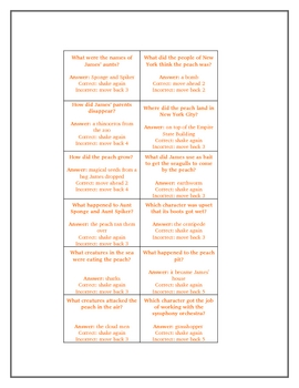 James and the Giant Peach Game Board Novel Study Activity