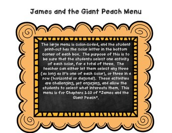 James and the Giant Peach Menu Activities: Hands-On Novel Study
