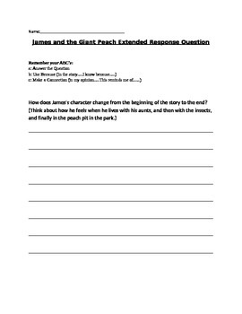James and the Giant Peach Open Response Question