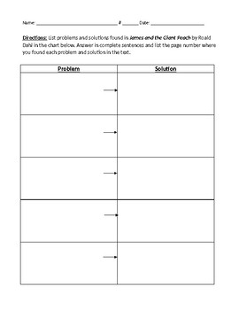 James and the Giant Peach Questions, Vocabulary, and Activity Sheets