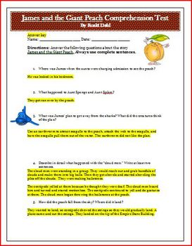 James and the Giant Peach Quiz for Novel