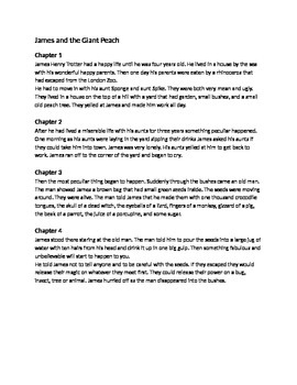 James and the Giant Peach - Roald Dahl adapted book summary questions