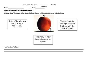 James and the Giant Peach Student Worksheets