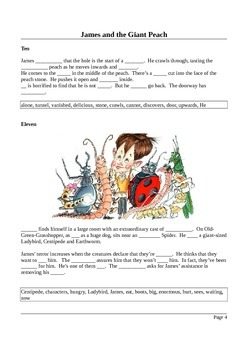 James and the Giant Peach - Summary in Cloze Test Format