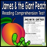 James and the Giant Peach Test: Final Book Quiz with Answer Key