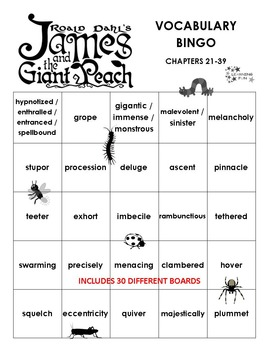 James and the Giant Peach Vocabulary Bingo