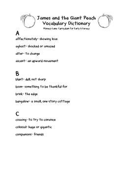 James and the Giant Peach Vocabulary Dictionary