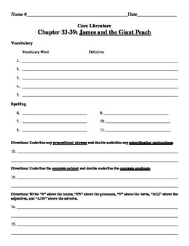 James and the Giant Peach Vocabulary Lists and Test