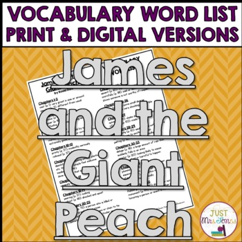 James and the Giant Peach Vocabulary Word List