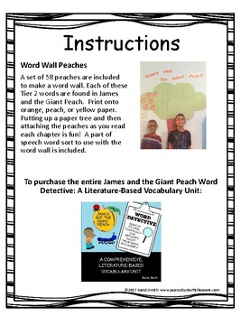 James and the Giant Peach Word Wall Freebie