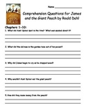 James and the Giant Peach by Roald Dahl Comprehension Packet