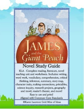 James and the Giant Peach by Roald Dahl ELA Study Novel Guide