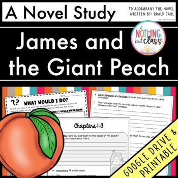 James and the Giant Peach Novel Study Unit: comprehension, activities, tests