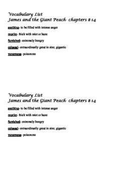 James and the Giant Peach vocabulary lists and assessments
